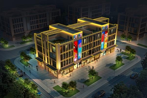 郑州同赢企业总部港商业楼亮化工程施工后效果