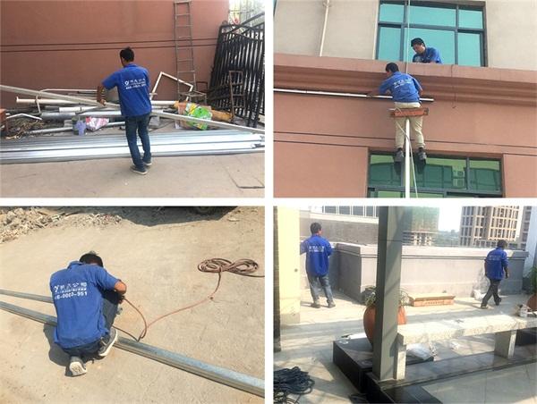 郑州市金盛招商中心外墙亮化施工现场