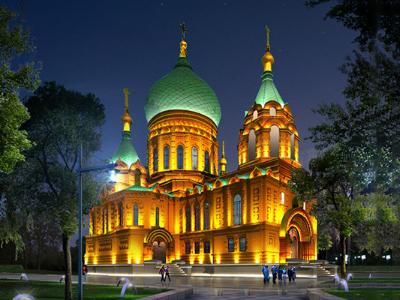 教堂夜间亮化-创造智慧生活城市