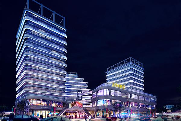郑州商业楼亮化后